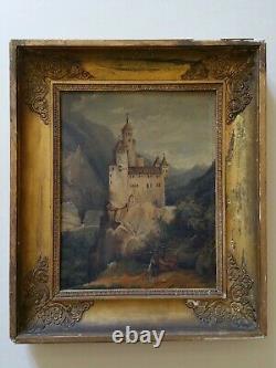 +++ Tableau huile sur toile romantique XIXe château berger cadre doré +++