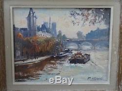 Tableau / huile sur toile signé R Ricart vue de Paris la seine