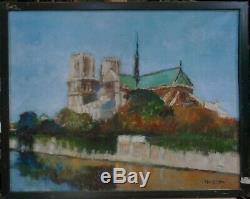 Tableau huile sur toile - signée HUSSON Paris Notre Dame