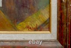 Tableau huile /toile Scène de bar signée
