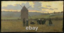 Tableau huile toile école bretonne paysage BRETAGNE danse Fest-Noz danseurs art