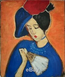 Tableau huile /toile femme au chapeau