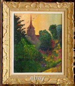 Tableau impressionniste fin 19ème église