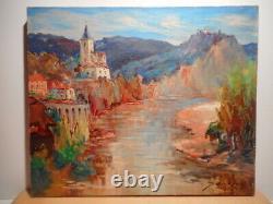Tableau montagne peinture village Ambialet Tarn Occitanie sud ouest France