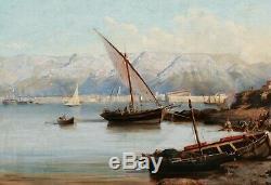 Tableau paysage huile toile vue Rade TOULON port marine bateaux XIXème siècle