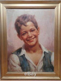 Tableau peinture Antonio VALLONE portrait jeune homme peintre italien Italie