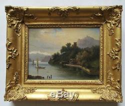 Tableau peinture HST paysage lac montagnes cadre doré Empire/ Restauration XIXe