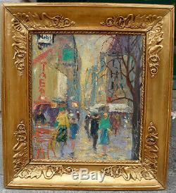 Tableau peinture Huile sur toile Rues de Paris par Ernst Rasmussen