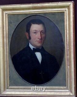 Tableau portrait 19ème cadre doré d'époque