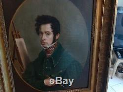 Tableau portrait jeune homme peintre Restauration huile toile XIXème 19ème