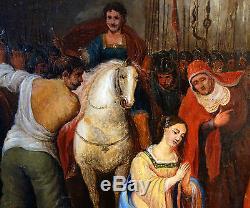 Tableau religieux Sainte Eugénie et l'empereur Valérien Huile sur toile XIXème
