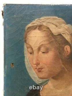 Tableau religieux ancien, Huile sur toile, Portrait de femme, Sainte XIXe