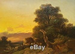 Tableau signé Jules COIGNET paysage soleil couchant 19e vaches arbre français