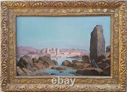Tableau signé RUDHARDT orientaliste suisse Egypte temple PHILAE paysage 19ème