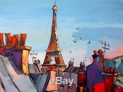 Toits de Paris Original & Unique JP DOUCHEZ Peinture au couteau huile sur toile