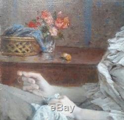 Tony Robert-fleury Jeune Femme Peinture Francais 19e Huile Couture Tableau