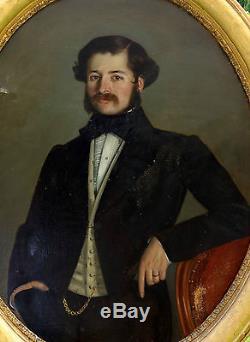 Très Grand Portrait d'homme Huile sur toile XIXème siècle époque Second Empire