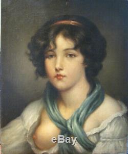 Très beau Tableau ancien Portrait Huile Toile Jeune Fille Proche GREUZE XIXe