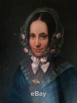 Trés beau tableau XIXème. Portrait de fille