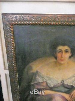 Tres grand portrait de femme huile sur toile 19 eme siecle et son cadre
