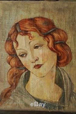Un vieux portrait d'une belle femme. Huile sur toile