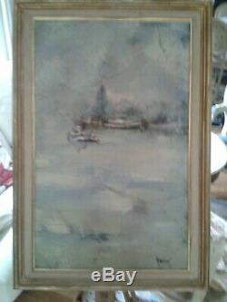 Urbain HUCHET XXème LE PORT DE NANTES Huile sur toile signée