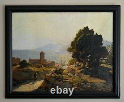 VIDAL Gustave (1895-1966) Coucher de soleil sur un village Corse Bastia Pino