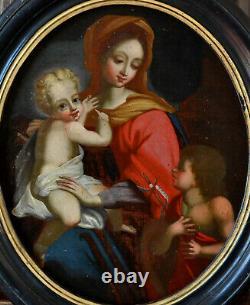 VIERGE A L'ENFANT JESUS ECOLE DU XVIIIe SIECLE TABLEAU ANCIEN CADRE OIL PAINTING