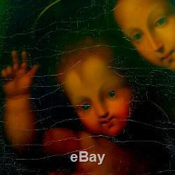 VIERGE à l'ENFANT Huile sur Toile XIXe st. Renaissance