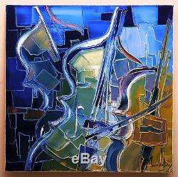 VIOLON VIOLONCELLE tulipe tableau peinture huile painting PFLEGER MANDRAFINA