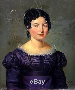 Valette Portrait de femme Ecole Française Huile sur toile XIXème Louis XVIII