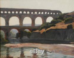 Victor Crumière. Pont du Gard. Huile sur toile v706