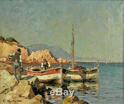 Vidal Gustave (1895 1966) -Pêcheurs au bord de la mer Huile sur toile v917