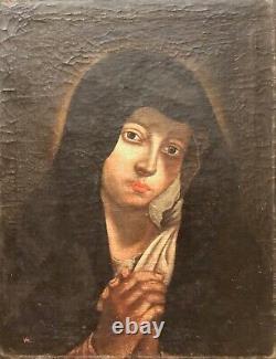 Vierge Marie peinture sur toile du XVIIe anonyme 49 cm par 38 cm école Italienne
