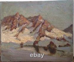 Vue de Montagne Lac Fin XIXeme huile sur toile Signée