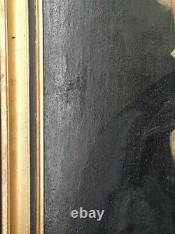 XIX ème s, ancien portrait d'homme huile sur toile