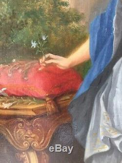 XIXème Tableau ancien 19ème Portrait femme élégante Huile sur toile A Restaurer