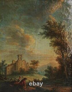 XVIII° Ecole italienne Berger et bergère dans un paysage HST 27 x 41.5 cm