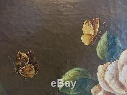 XVIIIè. Suiveur de J. B. MONNOYER. Grande huile sur toile. Fleurs, Singe, Insectes