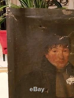 XVIII ème s, portrait d'homme ancienne peinture huile sur toile