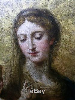 XVIIe XVIIIe Huile sur Toile VIERGE Christ ITALIE 17th 18th century oil on canva