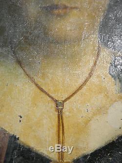 Étonnante huile sur toile, portrait XVIII, aristocrate dissimulé, signé